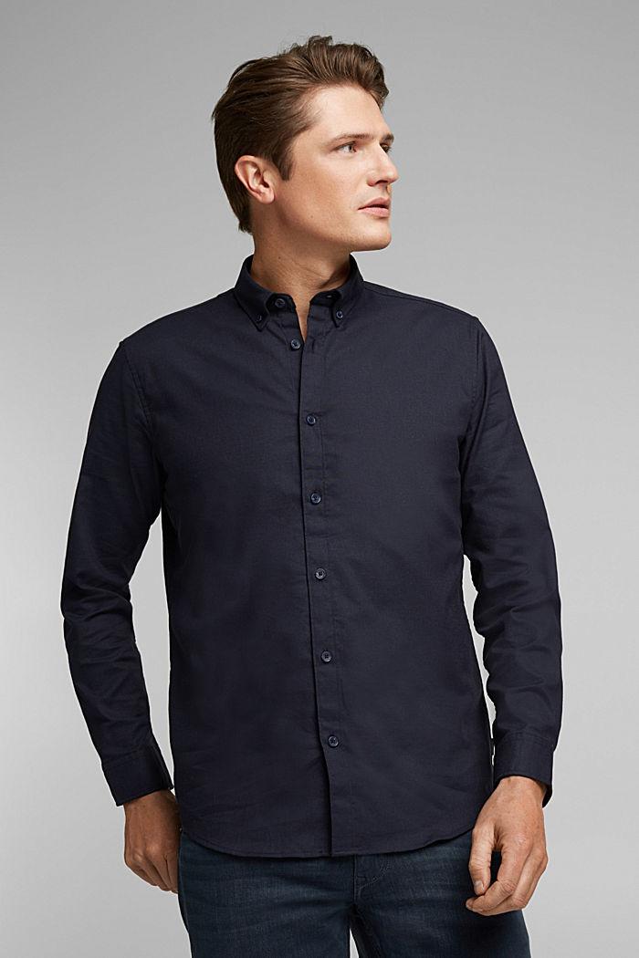 Buttondownoverhemd van katoen-stretch, NAVY, detail image number 0