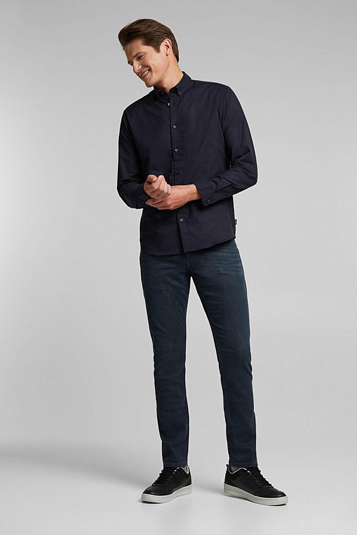 Buttondownoverhemd van katoen-stretch, NAVY, detail image number 1