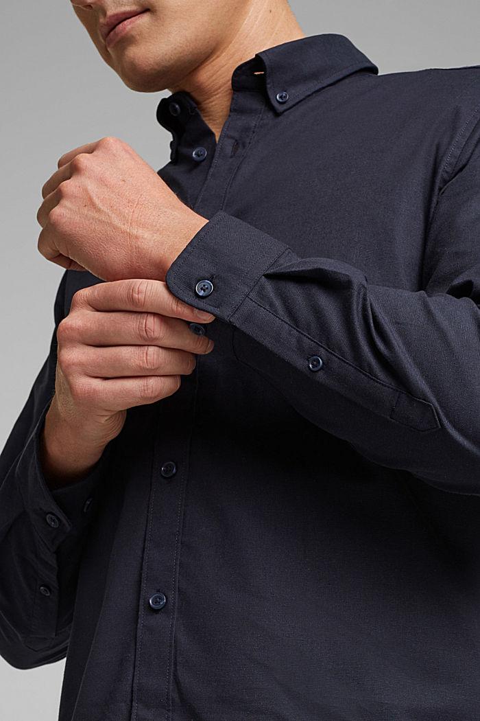 Buttondownoverhemd van katoen-stretch, NAVY, detail image number 2