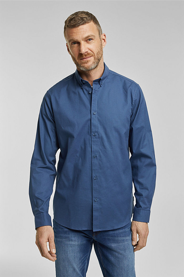 Stretch cotton button-down shirt, BLUE, detail image number 0