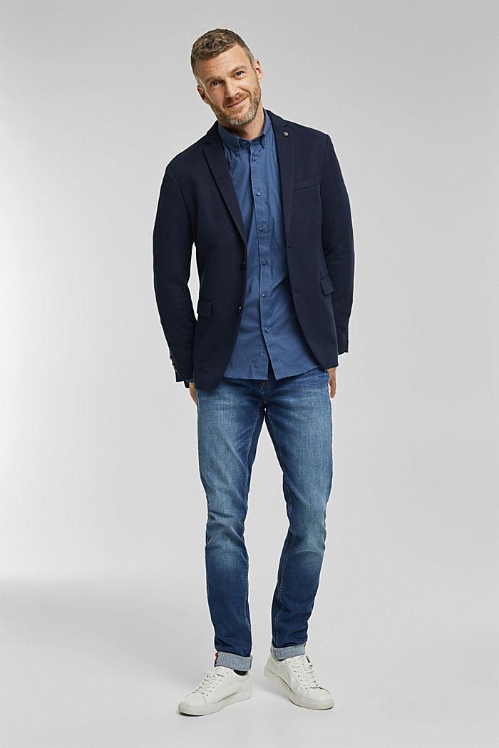 Stretch cotton button-down shirt, BLUE, detail image number 1