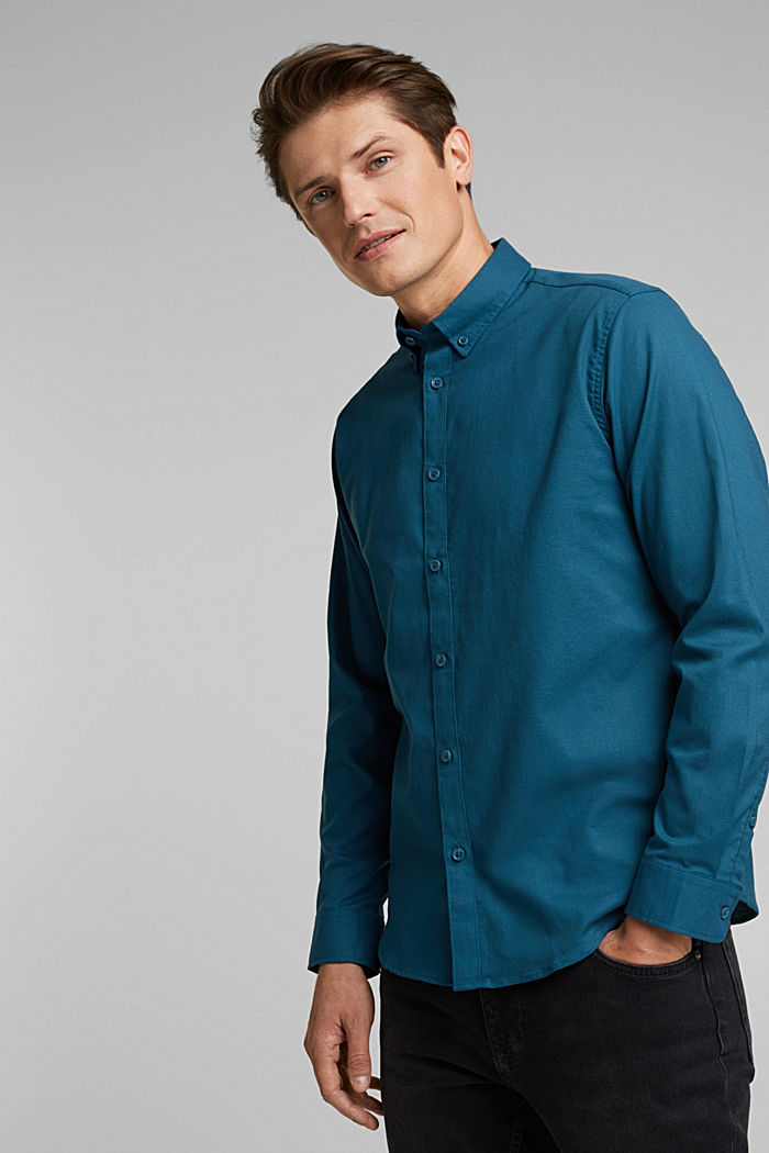 Stretch cotton button-down shirt, TEAL BLUE, detail image number 0