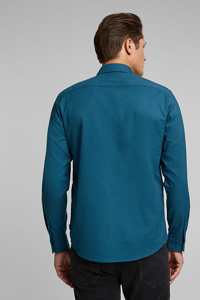 Stretch cotton button-down shirt, TEAL BLUE, detail image number 3
