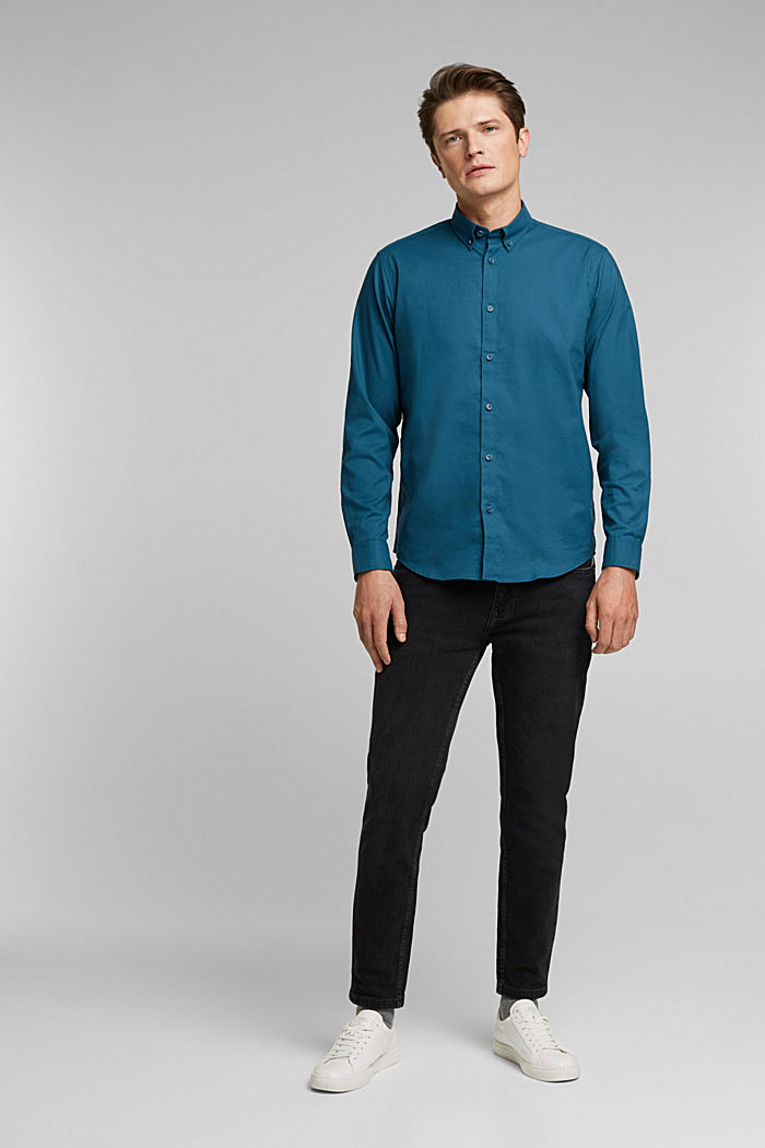 Stretch cotton button-down shirt, TEAL BLUE, detail image number 1