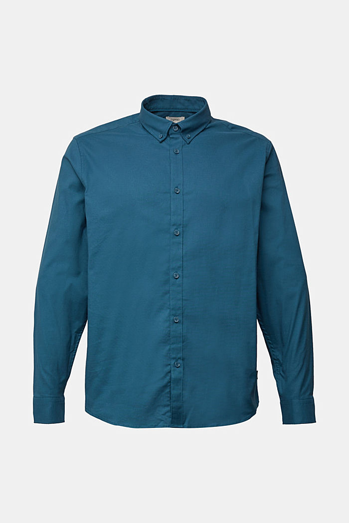 Stretch cotton button-down shirt, TEAL BLUE, detail image number 7