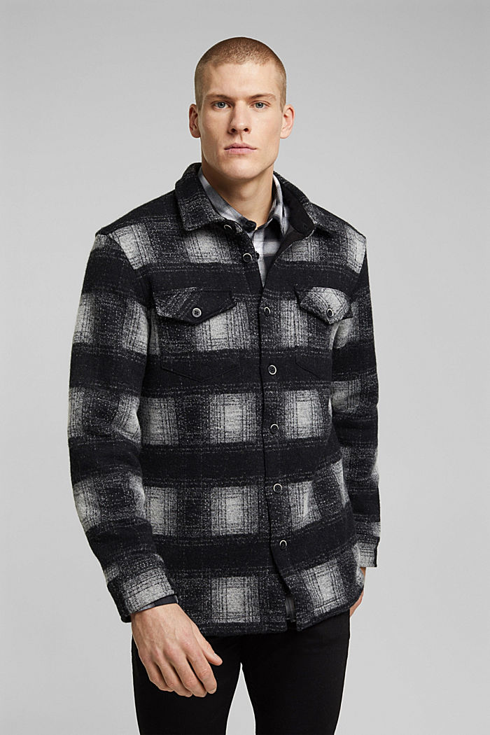 Checked overshirt in a wool blend