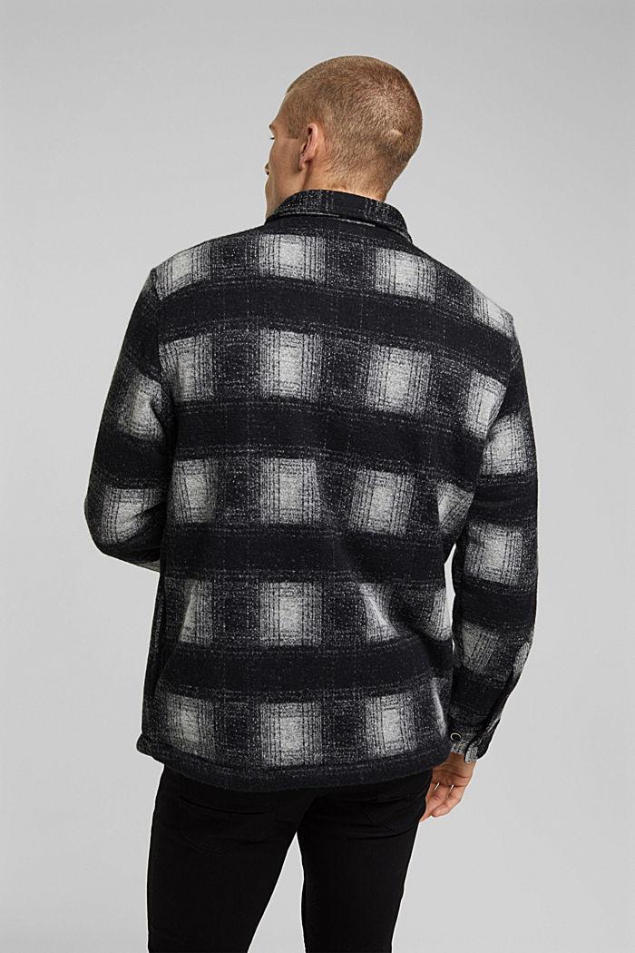 Kariertes Overshirt aus Woll-Mix, DARK GREY, detail image number 3