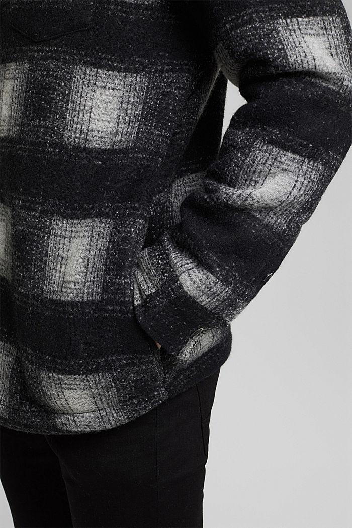 Kariertes Overshirt aus Woll-Mix, DARK GREY, detail image number 6