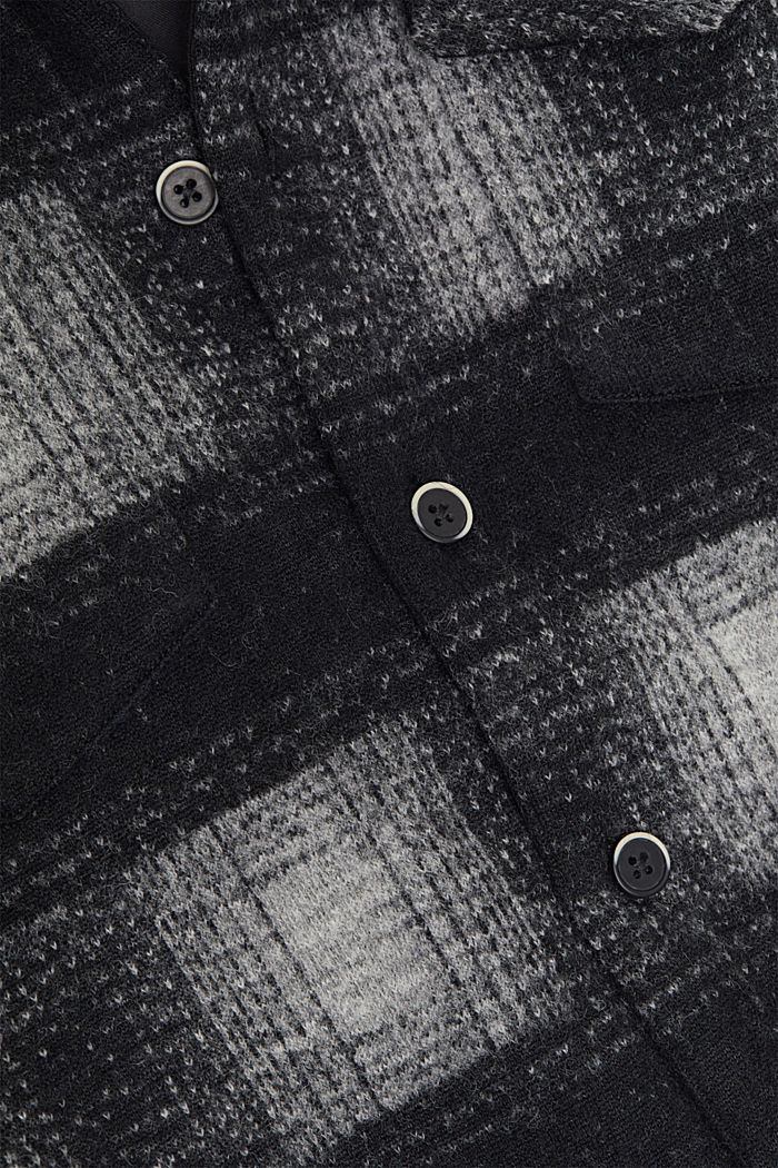 Kariertes Overshirt aus Woll-Mix, DARK GREY, detail image number 4