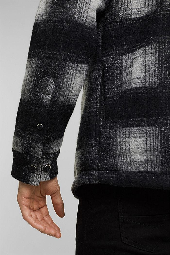 Kariertes Overshirt aus Woll-Mix, DARK GREY, detail image number 5