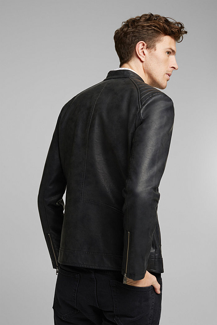 Vegan: Faux leather biker jacket, BLACK, detail image number 3
