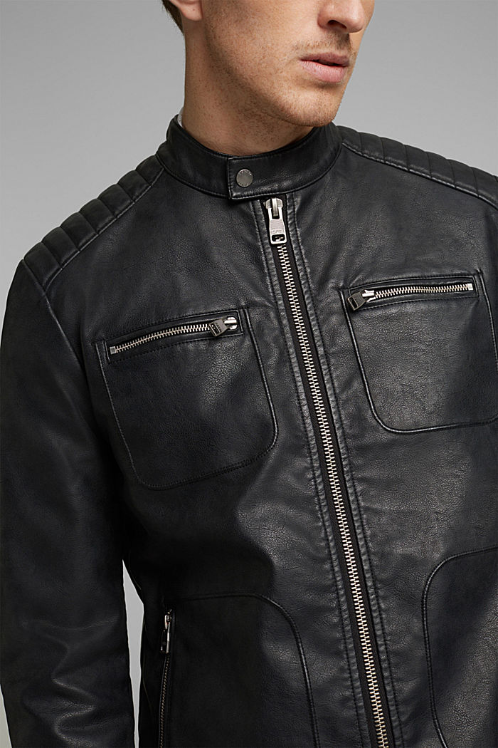Vegan: Faux leather biker jacket, BLACK, detail image number 2