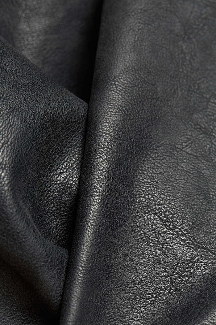Vegan: Faux leather biker jacket, BLACK, detail image number 4