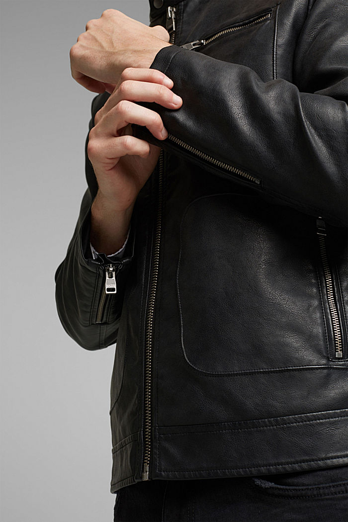 Vegan: Faux leather biker jacket, BLACK, detail image number 5