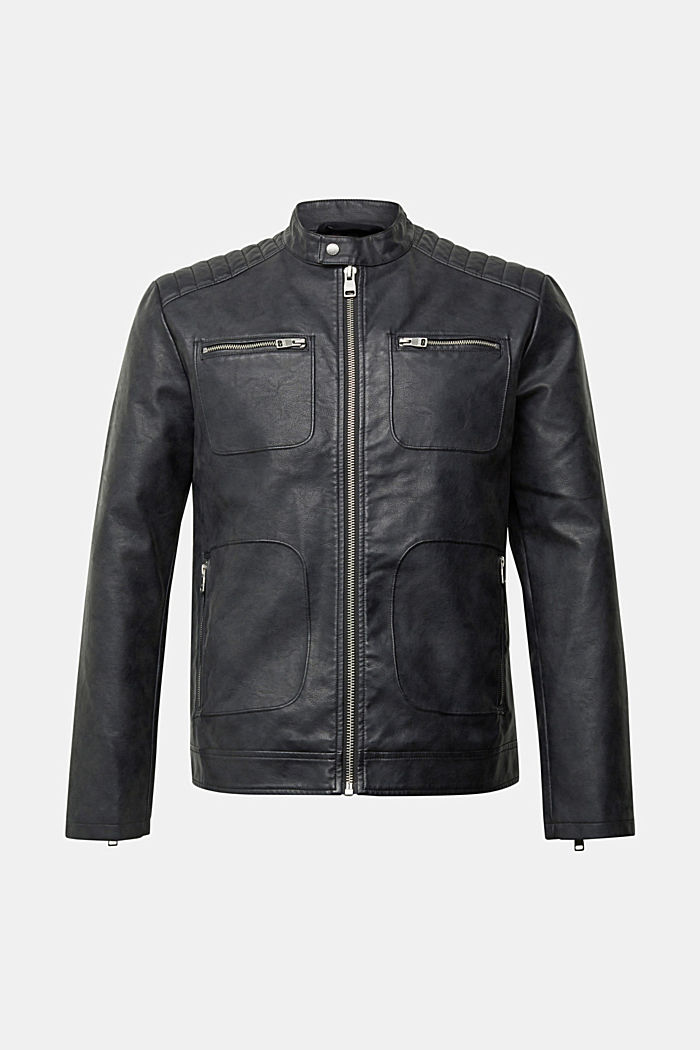 Vegan: Faux leather biker jacket, BLACK, detail image number 6
