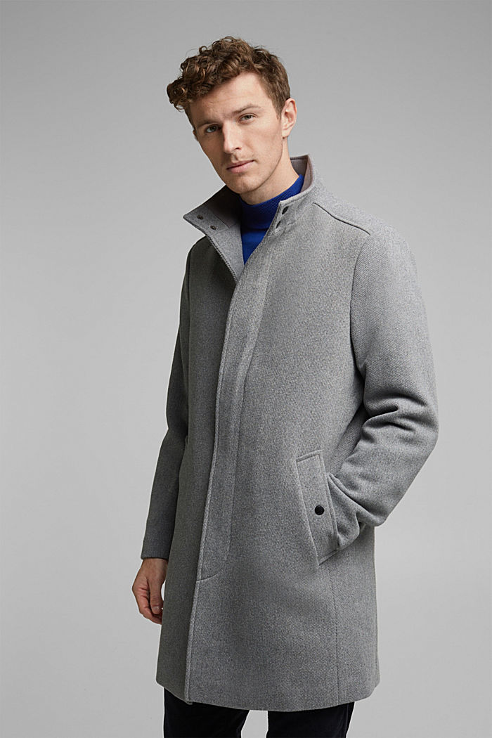 Recycled: blended wool coat with padding, GREY, detail image number 0