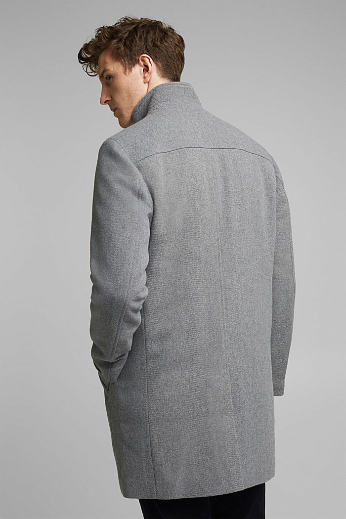 Recycled: blended wool coat with padding, GREY, detail image number 3