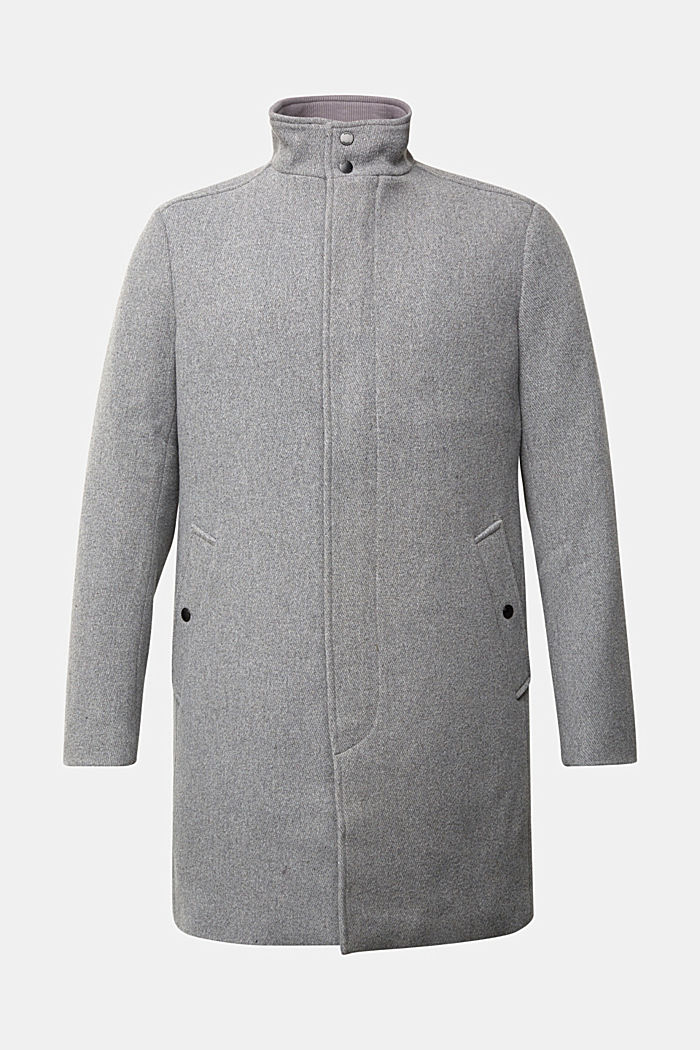 Recycled: blended wool coat with padding, GREY, detail image number 7