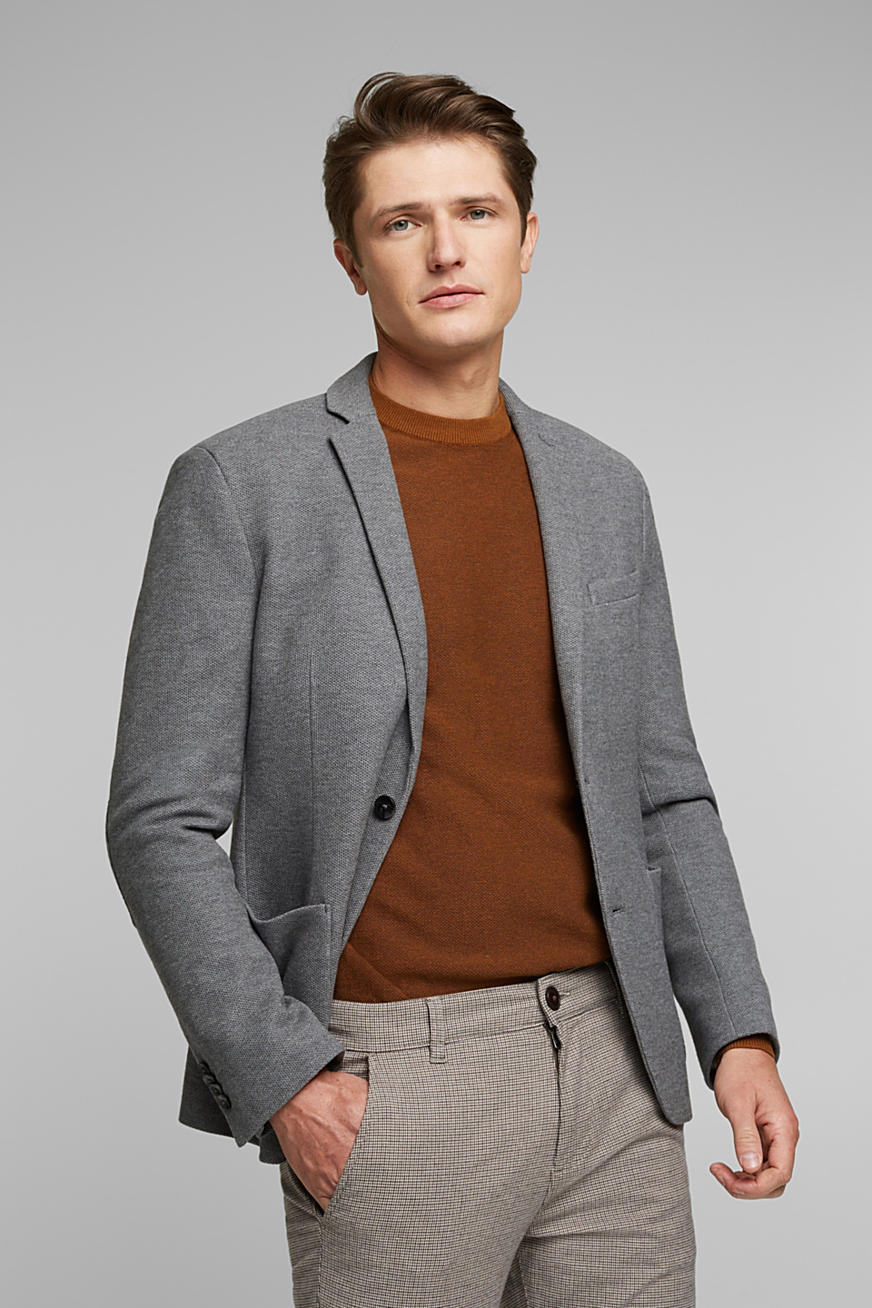 Sports jacket in a honeycomb knit, organic cotton
