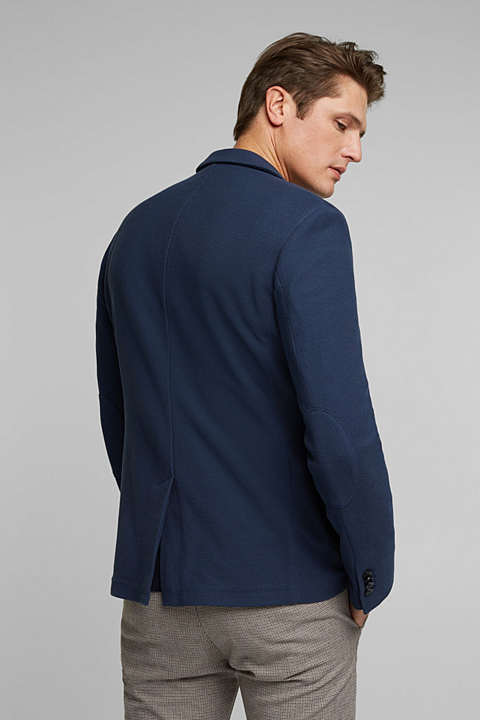 Sports jacket in a honeycomb knit, organic cotton, GREY BLUE, detail image number 3
