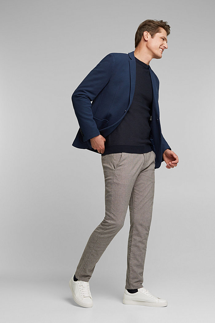 Sports jacket in a honeycomb knit, organic cotton, GREY BLUE, detail image number 1