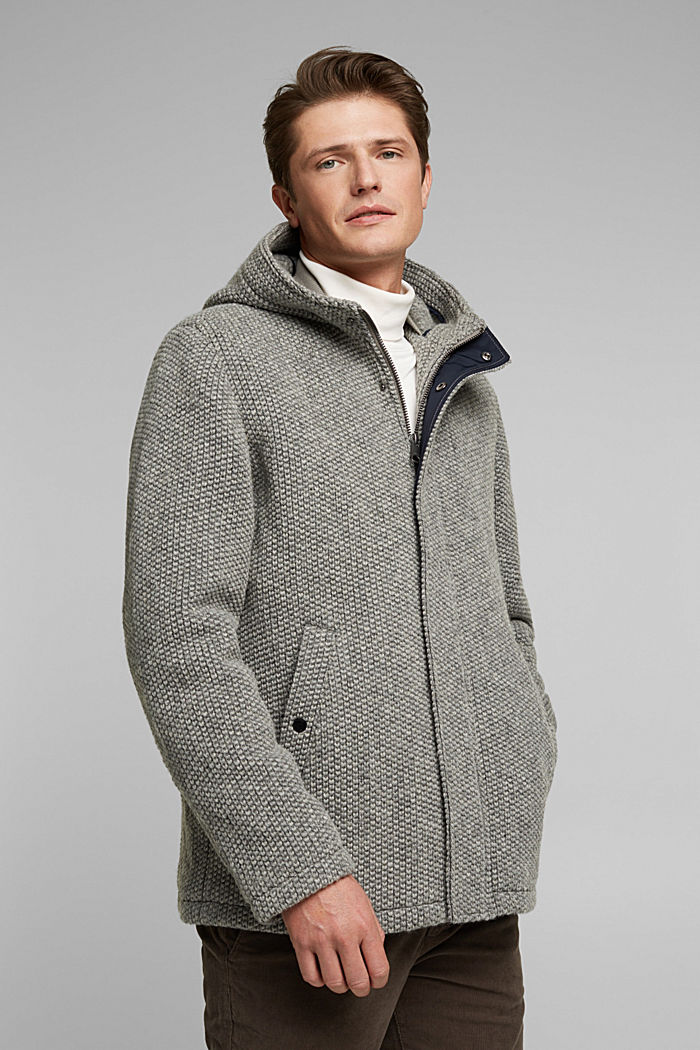 Wool blend: knit-effect outdoor jacket, GREY, detail image number 0