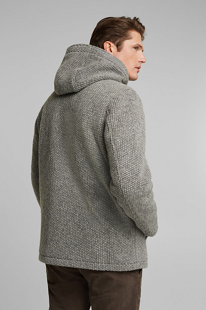 Wool blend: knit-effect outdoor jacket, GREY, detail image number 3