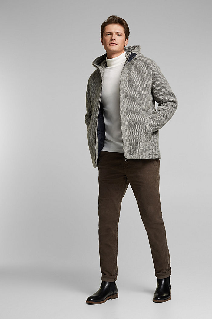 Wool blend: knit-effect outdoor jacket, GREY, detail image number 1