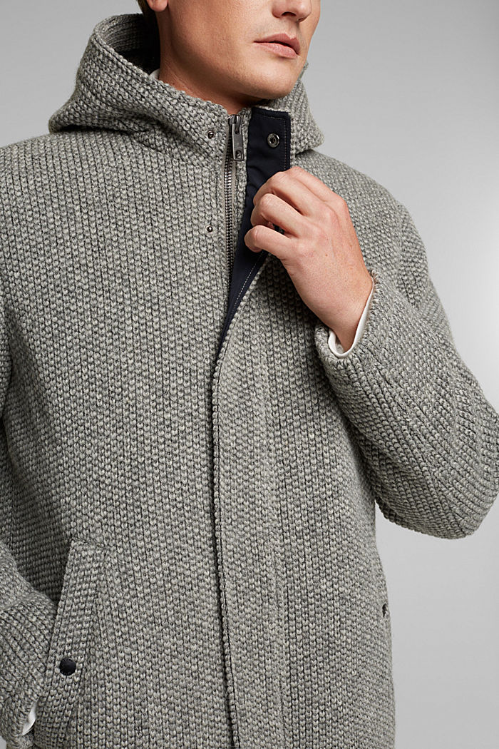 Wool blend: knit-effect outdoor jacket, GREY, detail image number 2