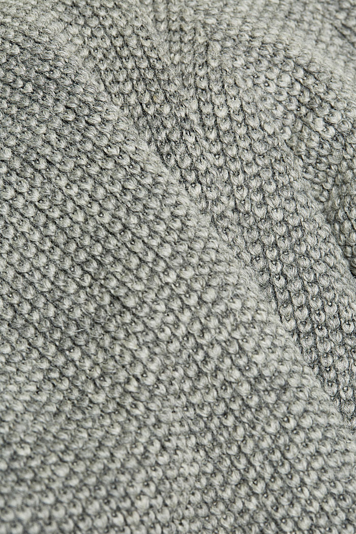 Wool blend: knit-effect outdoor jacket, GREY, detail image number 4