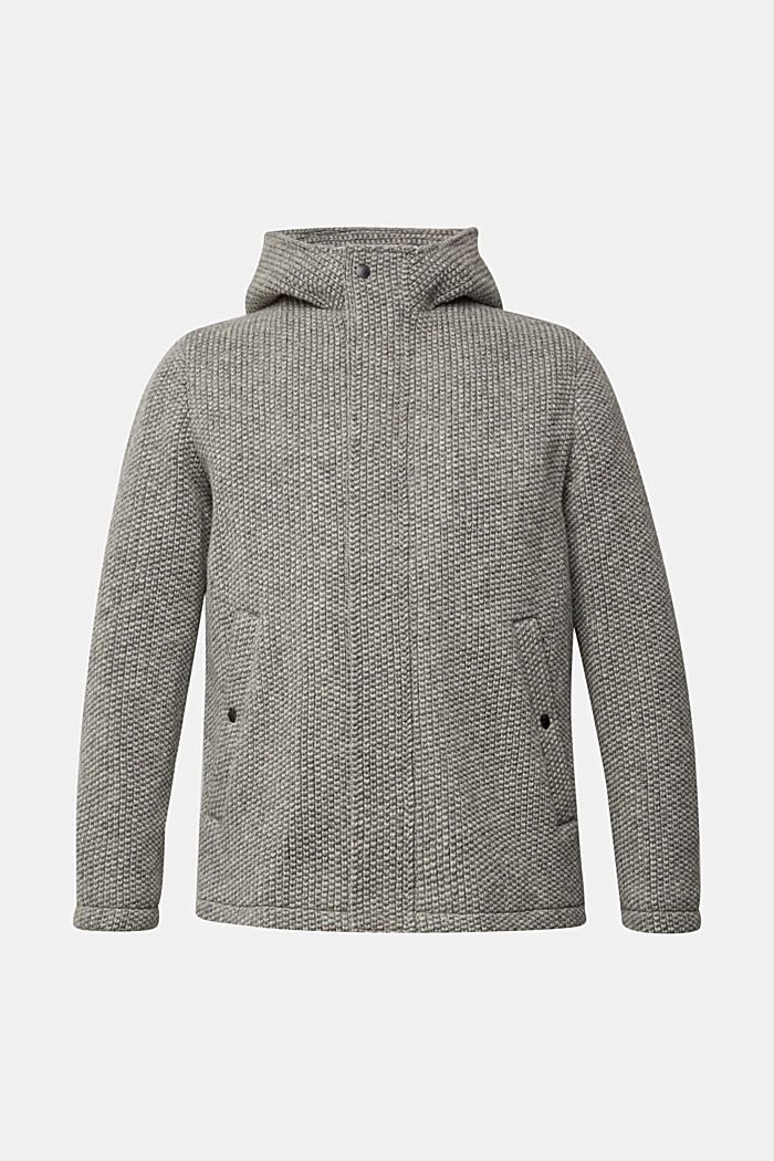 Wool blend: knit-effect outdoor jacket, GREY, detail image number 5
