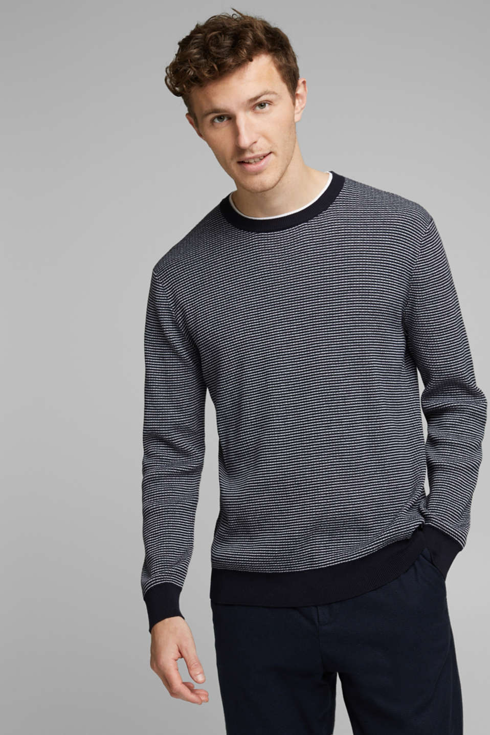 Esprit - Two-tone jumper made of 100% organic cotton
