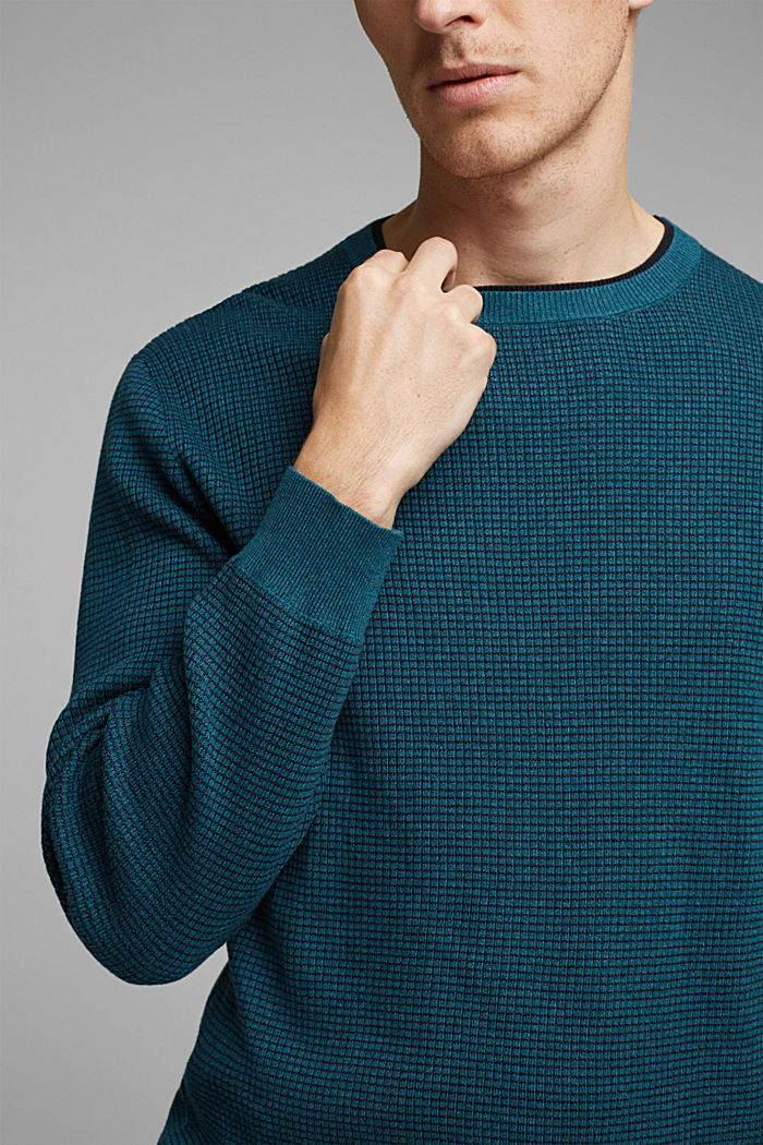 2-Tone Pullover aus 100% Organic Cotton, TEAL BLUE, detail image number 2