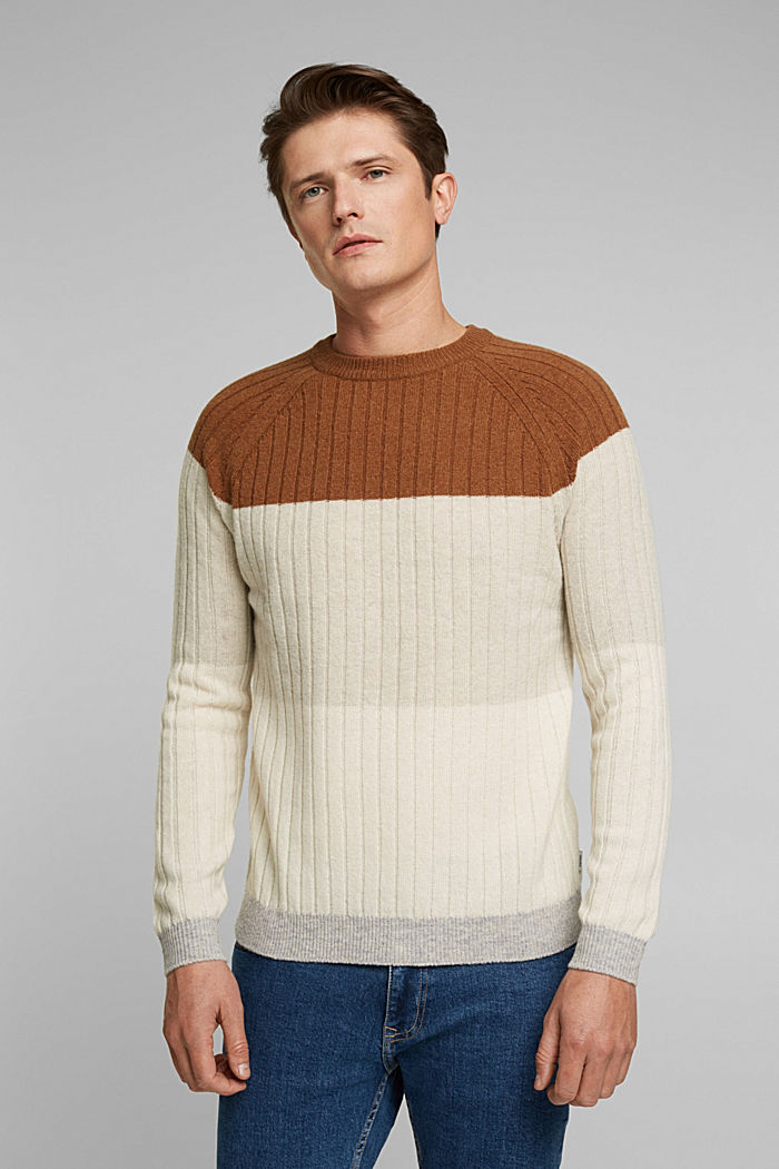 Jumper made of 100% wool, CAMEL, detail image number 0
