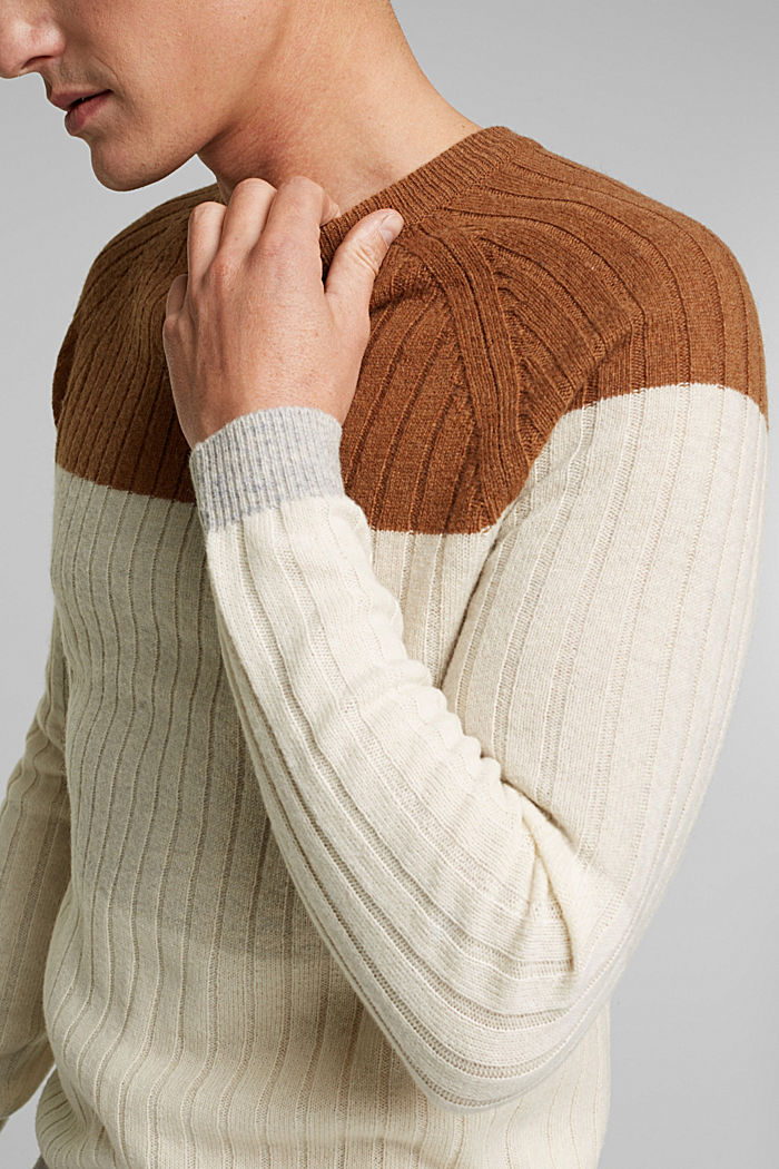 Pullover aus 100% Wolle, CAMEL, detail image number 2