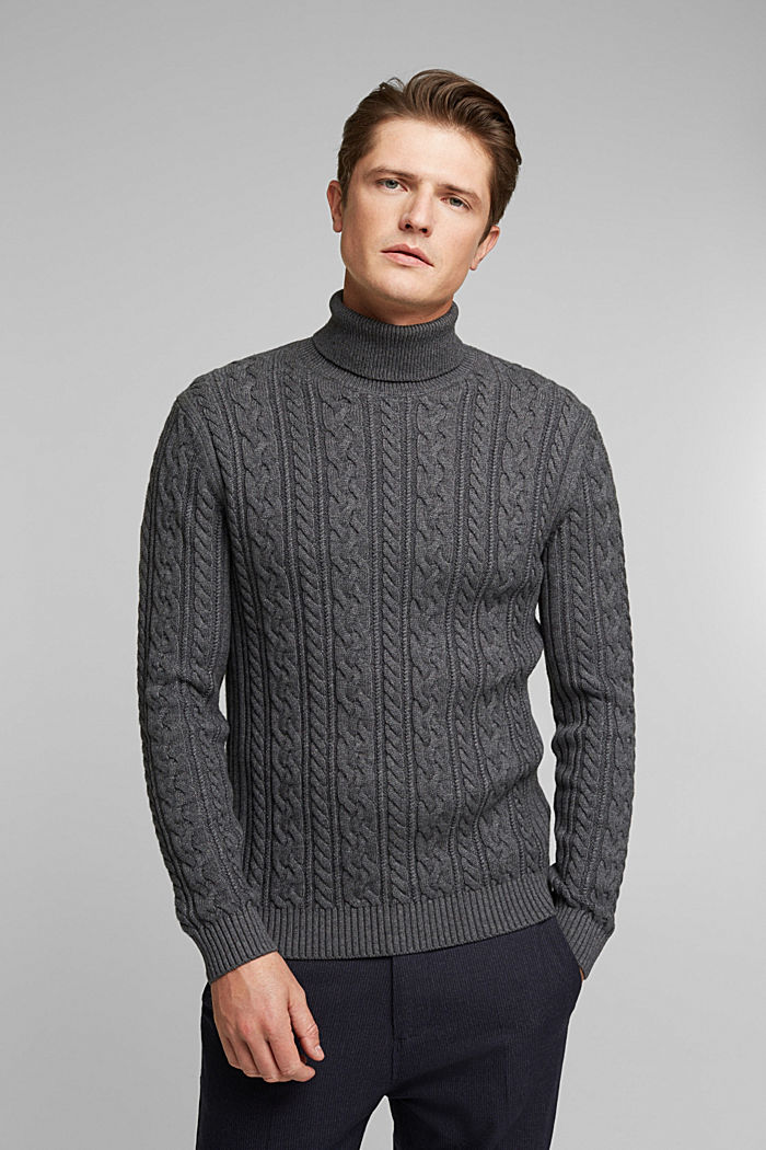 Cable knit jumper made of blended wool, DARK GREY, detail image number 0