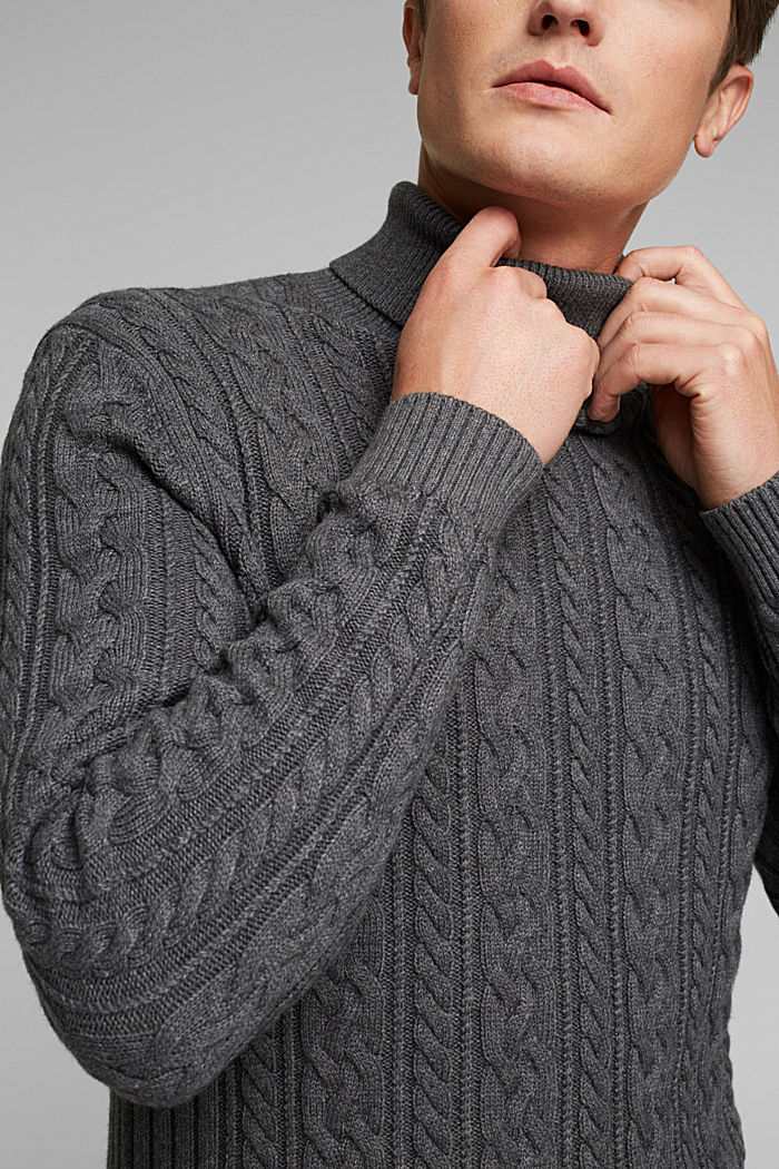 Cable knit jumper made of blended wool, DARK GREY, detail image number 2