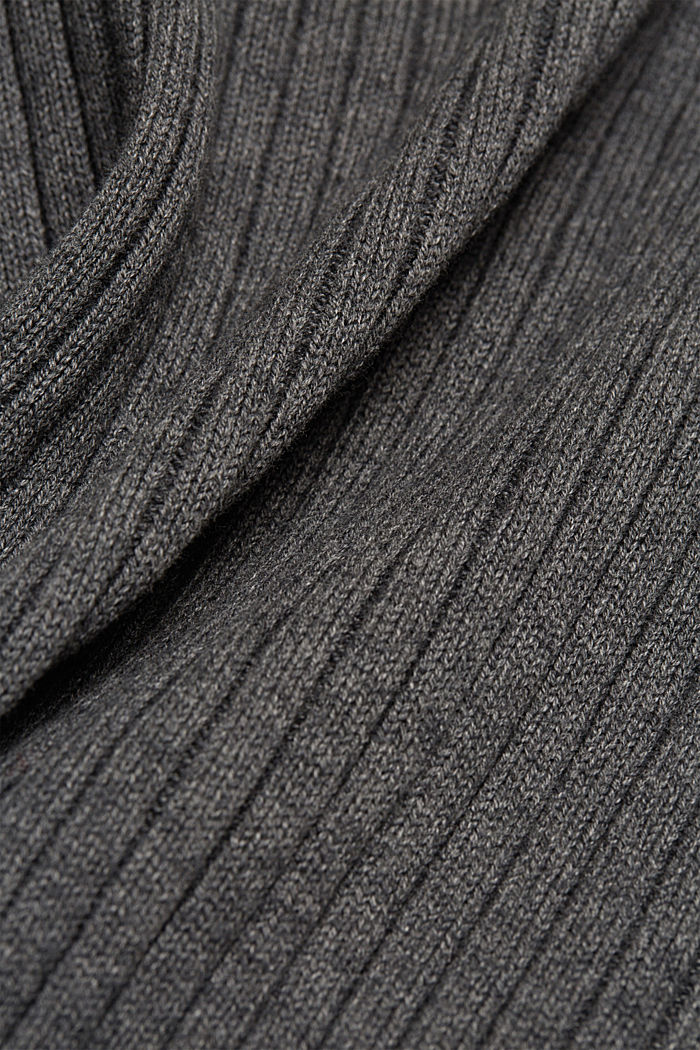 Cable knit jumper made of blended wool, DARK GREY, detail image number 4