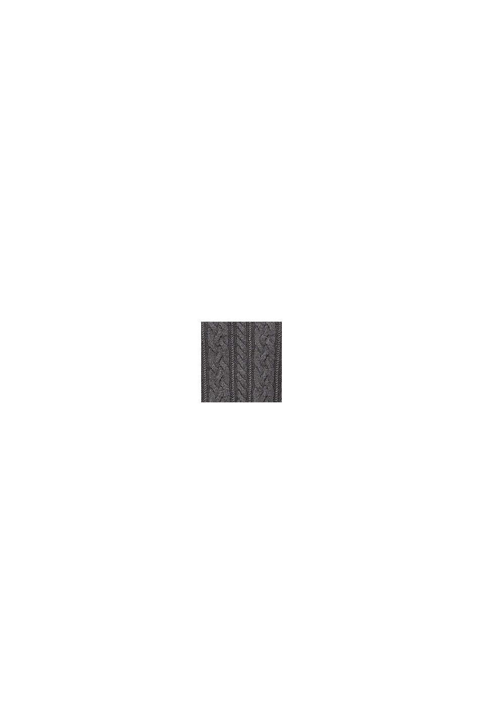 Jersey de punto trenzado en mezcla de lana, DARK GREY, swatch