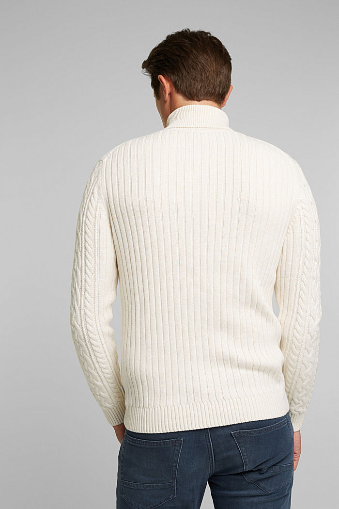 Cable knit jumper made of blended wool, OFF WHITE, detail image number 2