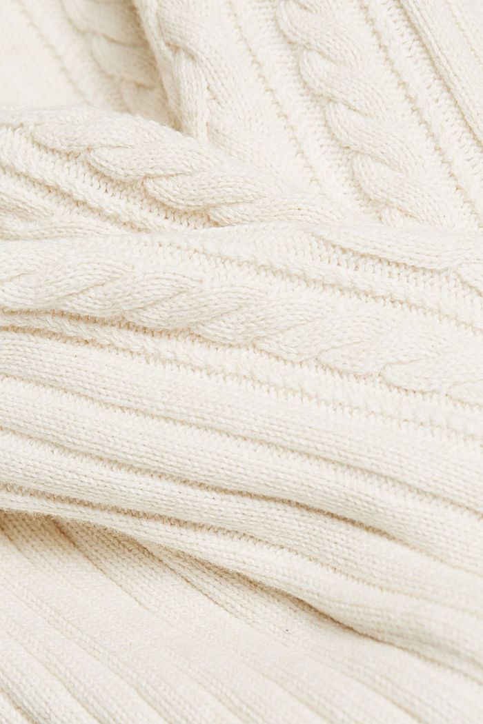 Cable knit jumper made of blended wool, OFF WHITE, detail image number 3