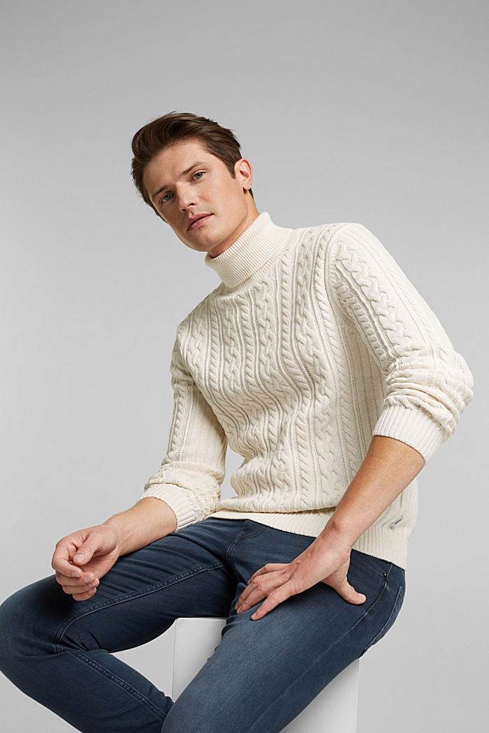 Cable knit jumper made of blended wool, OFF WHITE, detail image number 4