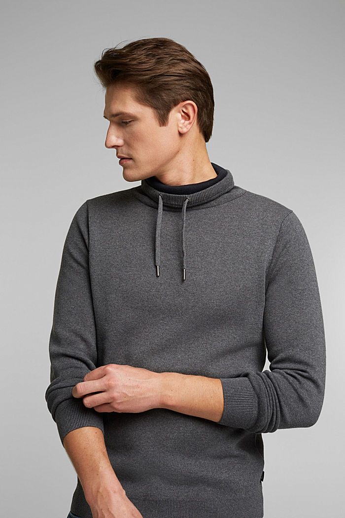 Recycled: cotton blend jumper, DARK GREY, overview