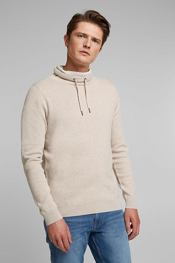 Recycled: cotton blend jumper, LIGHT BEIGE, detail image number 0