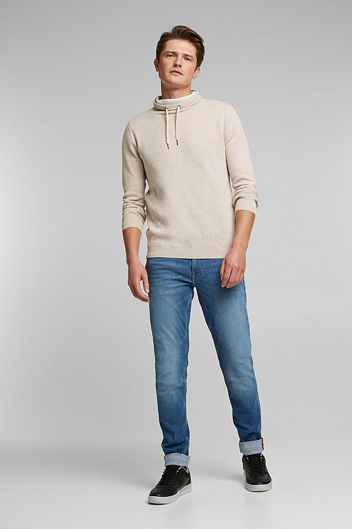 Recycled: cotton blend jumper, LIGHT BEIGE, detail image number 1