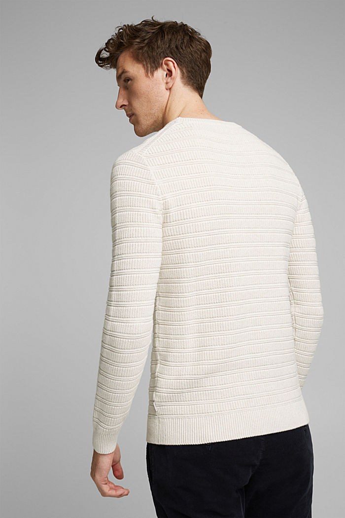 Textured jumper made of 100% organic cotton, OFF WHITE, detail image number 3