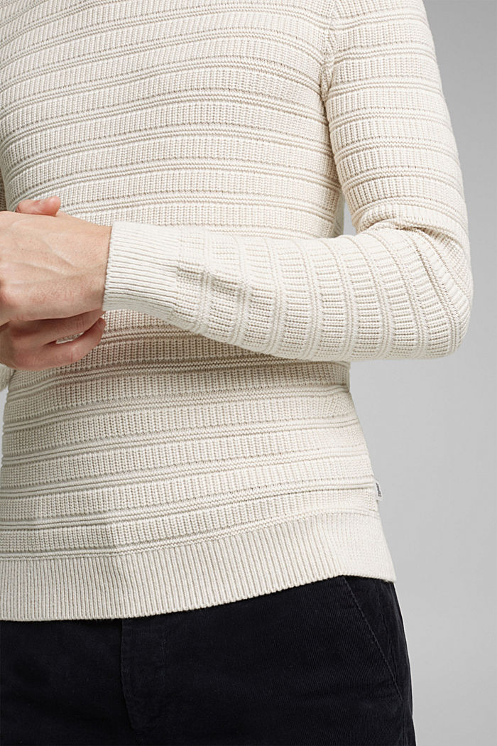 Textured jumper made of 100% organic cotton, OFF WHITE, detail image number 2