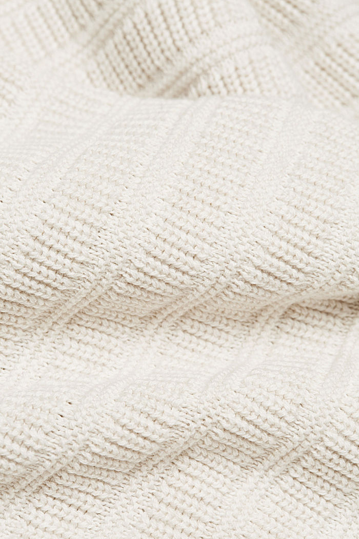 Textured jumper made of 100% organic cotton, OFF WHITE, detail image number 4