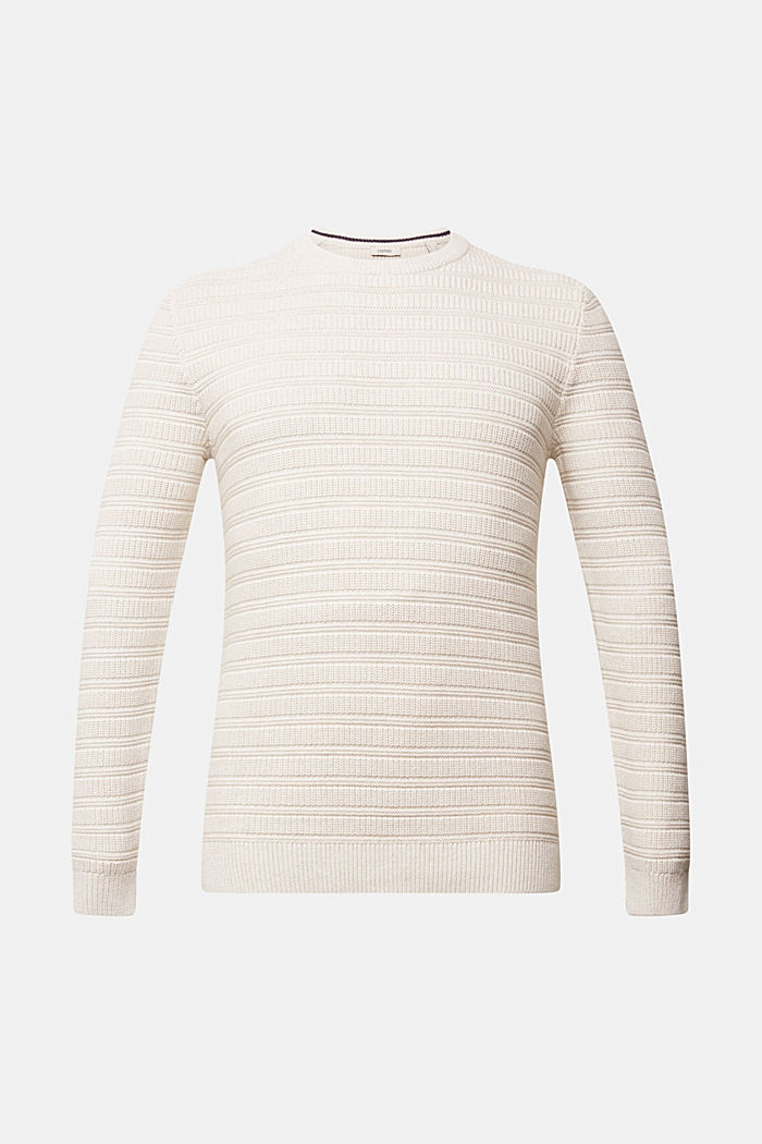 Textured jumper made of 100% organic cotton, OFF WHITE, overview