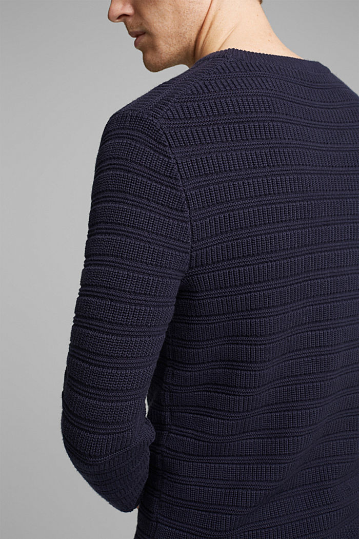 Textured jumper made of 100% organic cotton, NAVY, detail image number 2